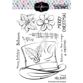 "644269 C3BB363 Colorado Craft Company Clear Stamps Frosty's Hat-Big & Bold 6""X6"""