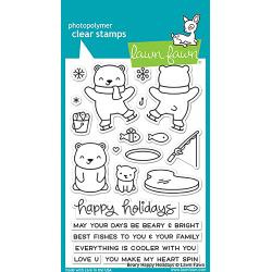 "LF1470  Lawn Fawn Clear Stamps Beary Happy Holidays 4""X6"""