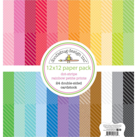 "342555 Doodlebug Petite Prints Double-Sided Cardstock Dot-Stripe Rainbow 12""X12"""