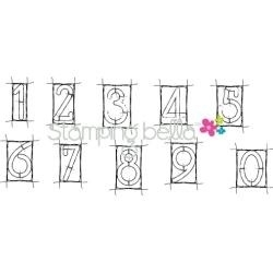 411755 Stamping Bella Cling Rubber Stamp Mixed Media Framed Numbers Set