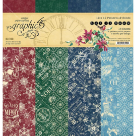 """G4502324 Graphic 45 Double-Sided Paper Pad Let It Snow 12""""X12"""" 16/Pkg"""