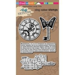 "196772 Stampendous Andy Skinner Cling Stamp Steampunk Set 5""x7"" Sheet"