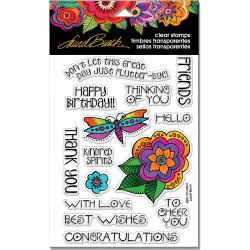 "247913 Stampendous Perfectly Clear Stamps Rubber Floral Greetings 7.25""X 4.625"""