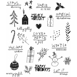 "CMS-LG 386 Tim Holtz Cling Stamps Seasonal Scribbles 7""X8.5"""