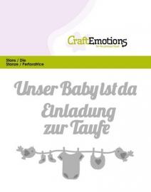 115633/0422 CraftEmotions Die Text - Unser Baby ist da (DE) Card 11x9cm