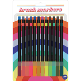 626051 American Crafts Brush Markers Retro Blue 24/Pkg