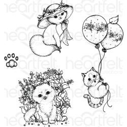 "588411 Heartfelt Creations Cling Rubber Stamp Set Playful Miss Kitty .75"" To 4.25"""
