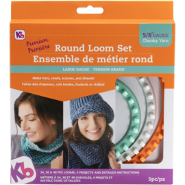 KB8150 Knitting Board Chunky Round Loom Sizes 48, 36 & 24 Pegs 3/Pkg