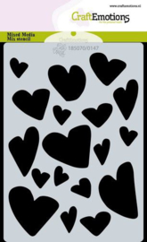185070/0147 CraftEmotions Mask stencil Love Puns - harten A6 Carla Creaties