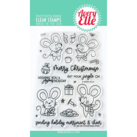 "641844 Avery Elle Clear Stamp Set Christmas Mice 4""X6"""