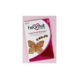 HCPC3951 Heartfelt Creations Cling Rubber Stamp Set Large Floral Butterfly