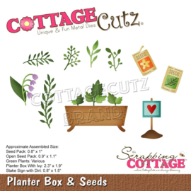 "CC752 CottageCutz Dies Planter Box & Seeds 2.3"" To .8"""