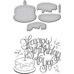 SDS081 Spellbinders Stamp & Die Set Happy Birthday Cake By Tammy Tutterow
