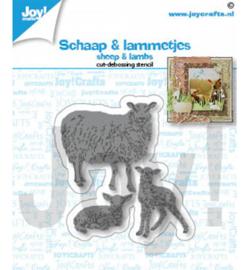 6002/1464 Snij-debosstencil Schaap & lammetjes