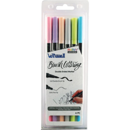 380991 Le Plume II Double-Ended Brush Lettering Marker Pastel Set 6/Pkg