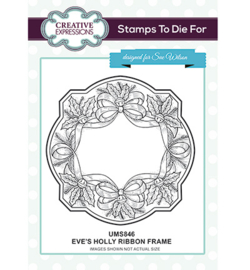 UMS846 To Die For Stamp 	Eve's Holly Ribbon Frame