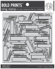 """652517 Hero Arts Clear Stamps Book Stacks Bold Prints 6""""X6"""""""