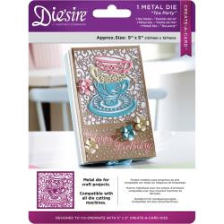"376036 Die'ssire Create-A-Card Interchangeable Die Tea Party, 5""X5"""