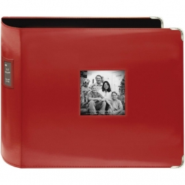 """4596440 Sewn Leatherette 3-Ring Binder 12""""X12"""" Red"""