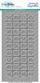 CDSN-0082 CarlijnDesign Snijmallen DL Slimline Kaart 4 Chocolade Alfabet