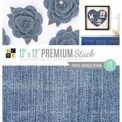 "210158 DCWV Specialty Stack Paper Backed Denim Fabric 12""X12"" 12/Pkg"