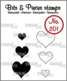 130505/0201 Crealies Clearstamp Bits&Pieces Hartjes (dicht en omlijning)