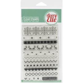 "641853 Avery Elle Clear Stamp Set Nordic Patterns 4""X6"""