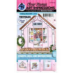 541917 Art Impressions Circlet Mini Tryfolds Stamp & Die Set Potting Shed