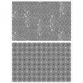 CMS-242 Tim Holtz Cling Rubber Stamp Set Zig Zag & Diamonds