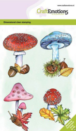 130501/0105 CraftEmotions clearstamps A6 - Paddenstoelen GB Dimensional stamp