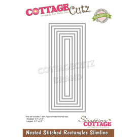 """CCB082 CottageCutz Slimline Dies Nested Stitched Rectangles 8.5"""" To .5"""""""