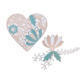 664492 Sizzix Thinlits Die Set Bold Floral Heart Jenna Rushforth