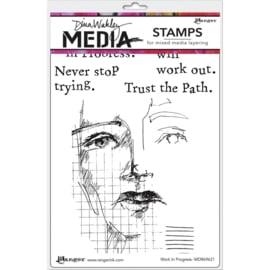 "617338 Dina Wakley Media Cling Stamps Work In Progress 6""X9"""