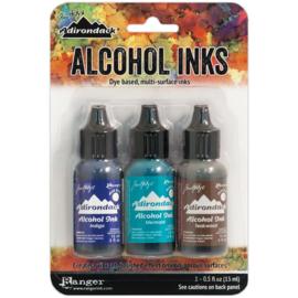 360194 TAK53446 Adirondack Alcohol Ink Mariner-Indigo/Mermaid/Teakwood