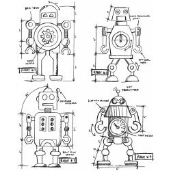 343788 Tim Holtz Cling Rubber Stamp Set Robots Blueprint