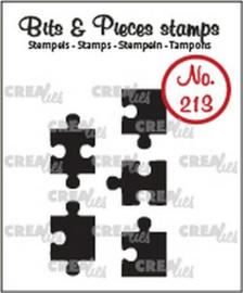 CLBP213 Crealies Clearstamp Bits & Pieces 5x puzzelstukjes (dicht)
