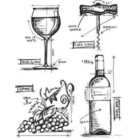 "CMS 333 Tim Holtz Cling Stamps Wine Blueprint 7""X8.5"