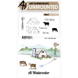 644039 Art Impressions Watercolor Cling Rubber Stamps Barn