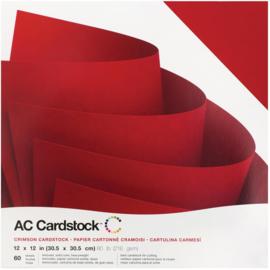 "AC376903 American Crafts Textured Cardstock Pack Crimson 12""X12"" 60/Pkg"