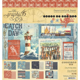 "G4502175 Graphic 45 Double-Sided Paper Pad Catch Of The Day 8""X8"" 24/Pkg"