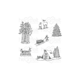 HCPC3922 Heartfelt Creations Cling Rubber Stamp Set Woodsy Winterscapes