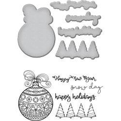 SBS090 Spellbinders Stamp & Die Set Happy Holiday Ornaments By Stephanie Low