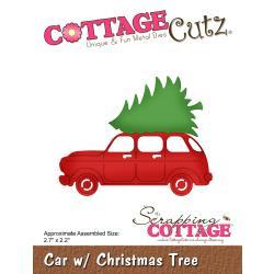 473729 CottageCutz Die Car W/Christmas Tree