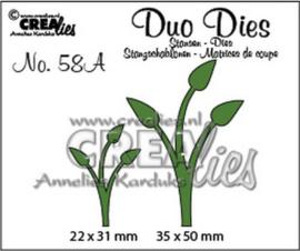 CLDD58A Crealies Duo Dies no. 58A Blaadjes 12 spiegelbeeld