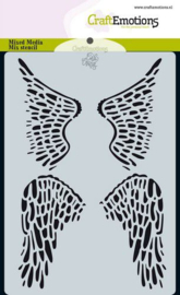185070/0115 CraftEmotions Mask stencil Angel & Bear - vleugels Carla Creaties