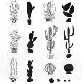 """CMS 431 Tim Holtz Cling Stamps Mod Cactus  7""""X8.5"""""""