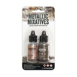 313781 TAK58762 Tim Holtz Alcohol Ink Metallic Mixatives .5oz 2/Pkg Rose Gold & Gunmetal