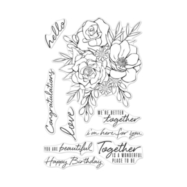 "621711 Hero Arts Clear Stamps Togetherness Flower Bouquet 4""X6"""