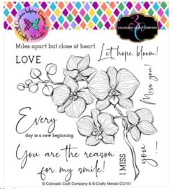 "C3CC101 Colorado Craft Company & Crafty Meraki Clear Stamps Orchids-Collaboration 6""X6"""