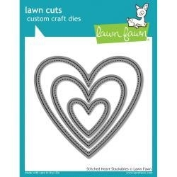 532396 Lawn Cuts Custom Craft Die Stitched Heart Stackables